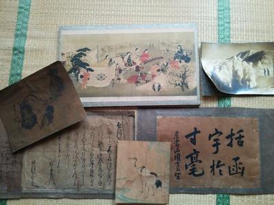 八田知紀や松村景文などの古い書や絵画