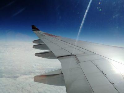 香港航空香港行きの飛行機からの眺め