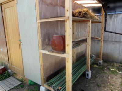 軒下の棚を作った後