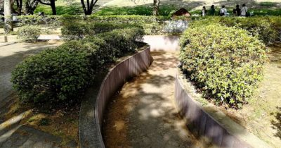 川中島古戦場史跡公園の遊具付近の通路